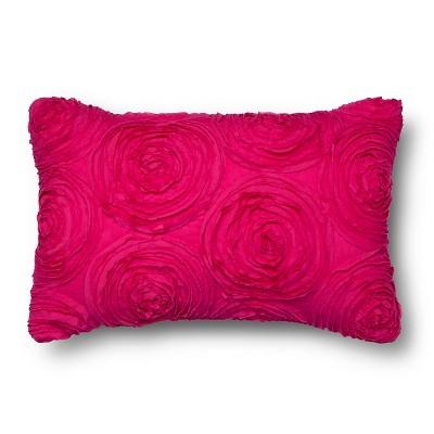 Rosette Throw Pillow (18 x12 )Pink - Pillowfort™