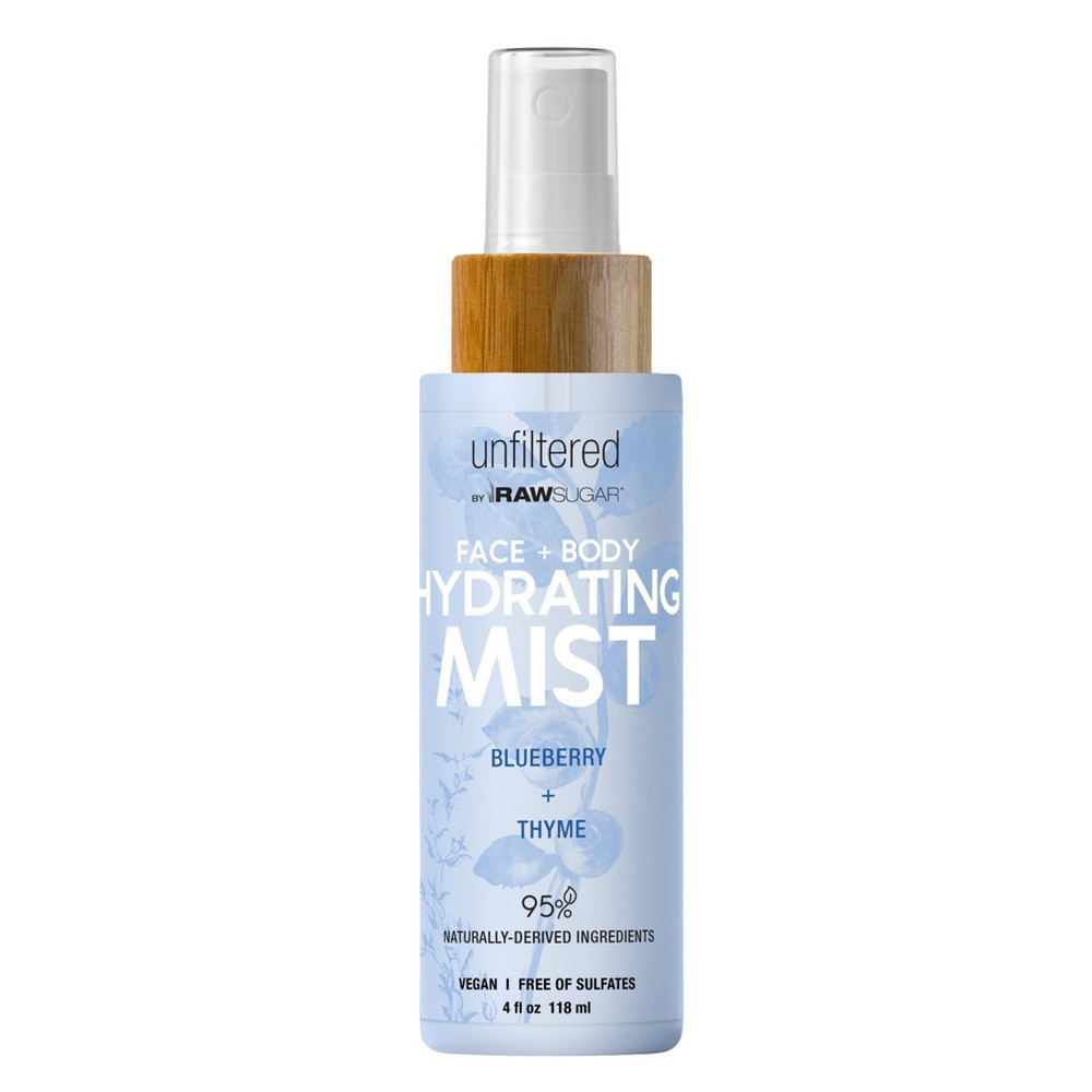 Image of Unfiltered By Raw Sugar Blueberry and Thyme Face and Body Hydrating Mist - 4 fl oz