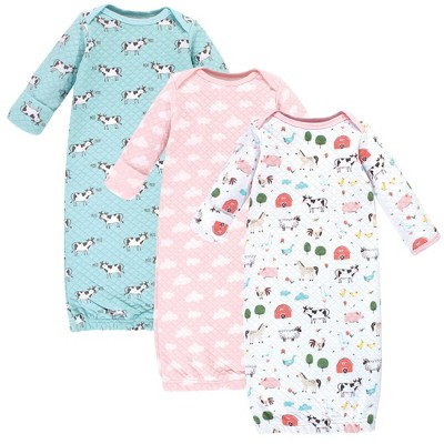 Hudson Baby Infant Girl Quilted Cotton Long-Sleeve Gowns 3pk, Girl Farm Animals, 0-6 Months