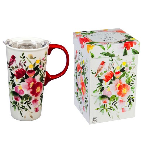Evergreen Flag Ceramic Travel Cup, 17 OZ. ,w/box and Tritan Lid, Happy Life - image 1 of 4