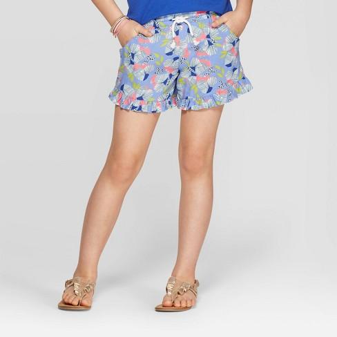 Girls' Floral Print Pull-On Shorts - Cat & Jack™ Purple