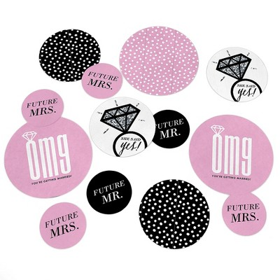 Big Dot of Happiness Omg, You're Getting Married - Engagement Party Giant Circle Confetti - Bridal Shower Party Decorations - Large Confetti 27 Count