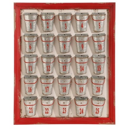 """a1a0a821d18 Raz Imports 24"""" Red Rustic Weathered Bucket Christmas Advent Calendar    Target"""