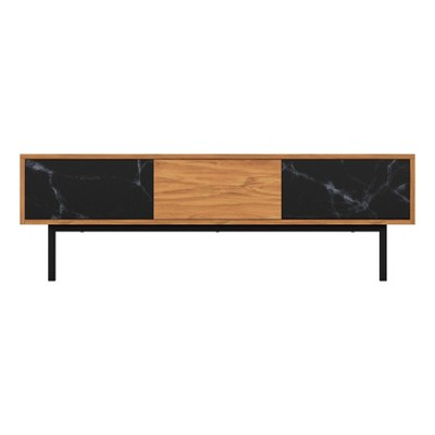 """Marble Effect Doors TV Stand for TVs up to 65"""" Walnut - AVF"""