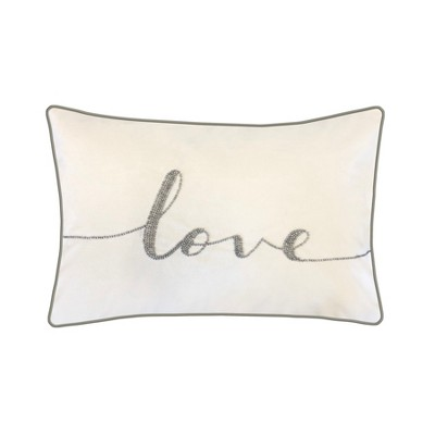 LOVE  Beaded Poly Velvet Lumbar Throw Pillow Ivory - Edie@Home