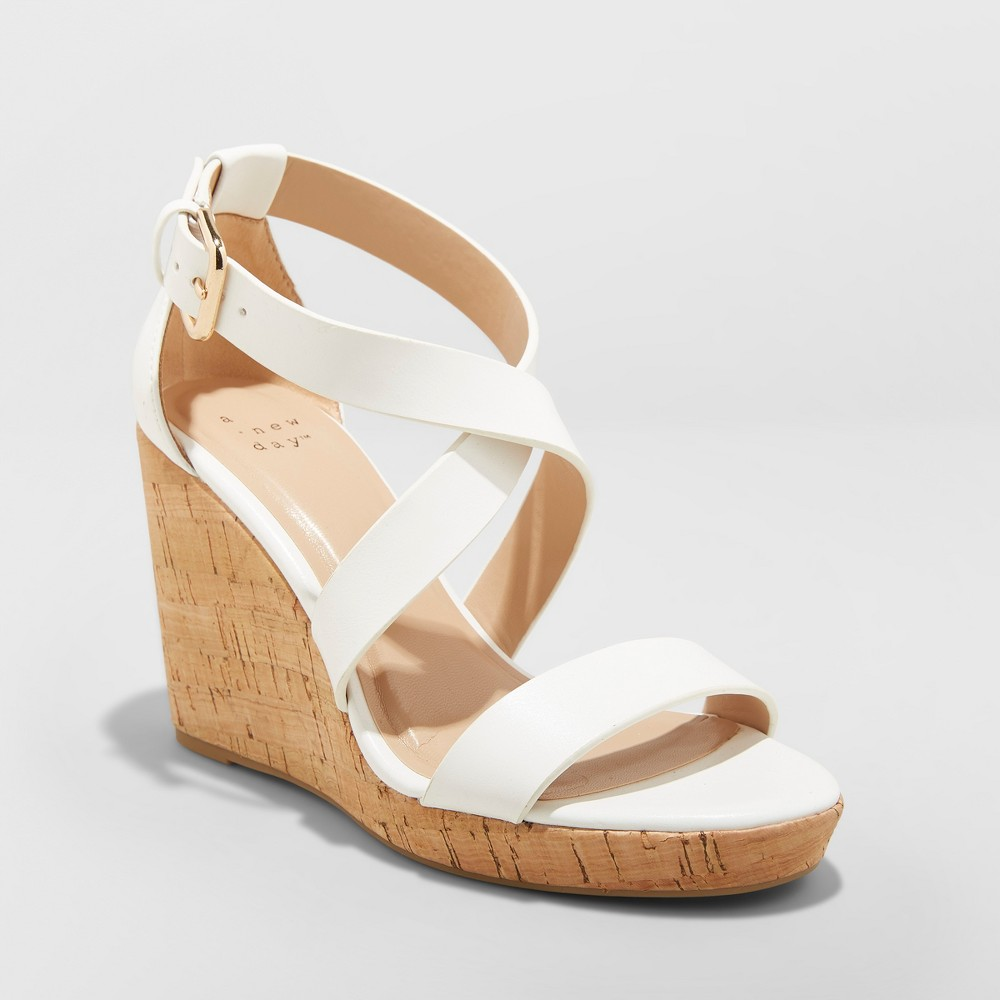 Women's Cecilia Strappy Cork Wedge Ankle Strap Sandal - A New Day White 7