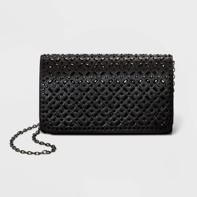 Estee & Lilly Snap Closure Crystal Small Rectangle Clutch - Black