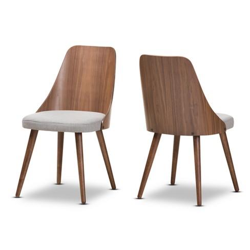 Set of 2 Romily Mid Century Modern Walnut Wood Fabric Dining Chairs - Baxton Studio - image 1 of 4