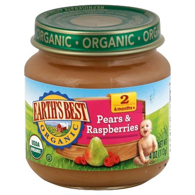 Earth's Best Organic Pureed Baby Food Pears & Raspberries - 4oz