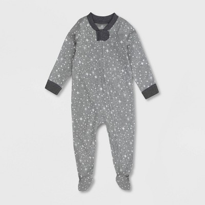 Honest Baby Twinkle Star Print Snug Fit Footed Pajama - Gray 12M