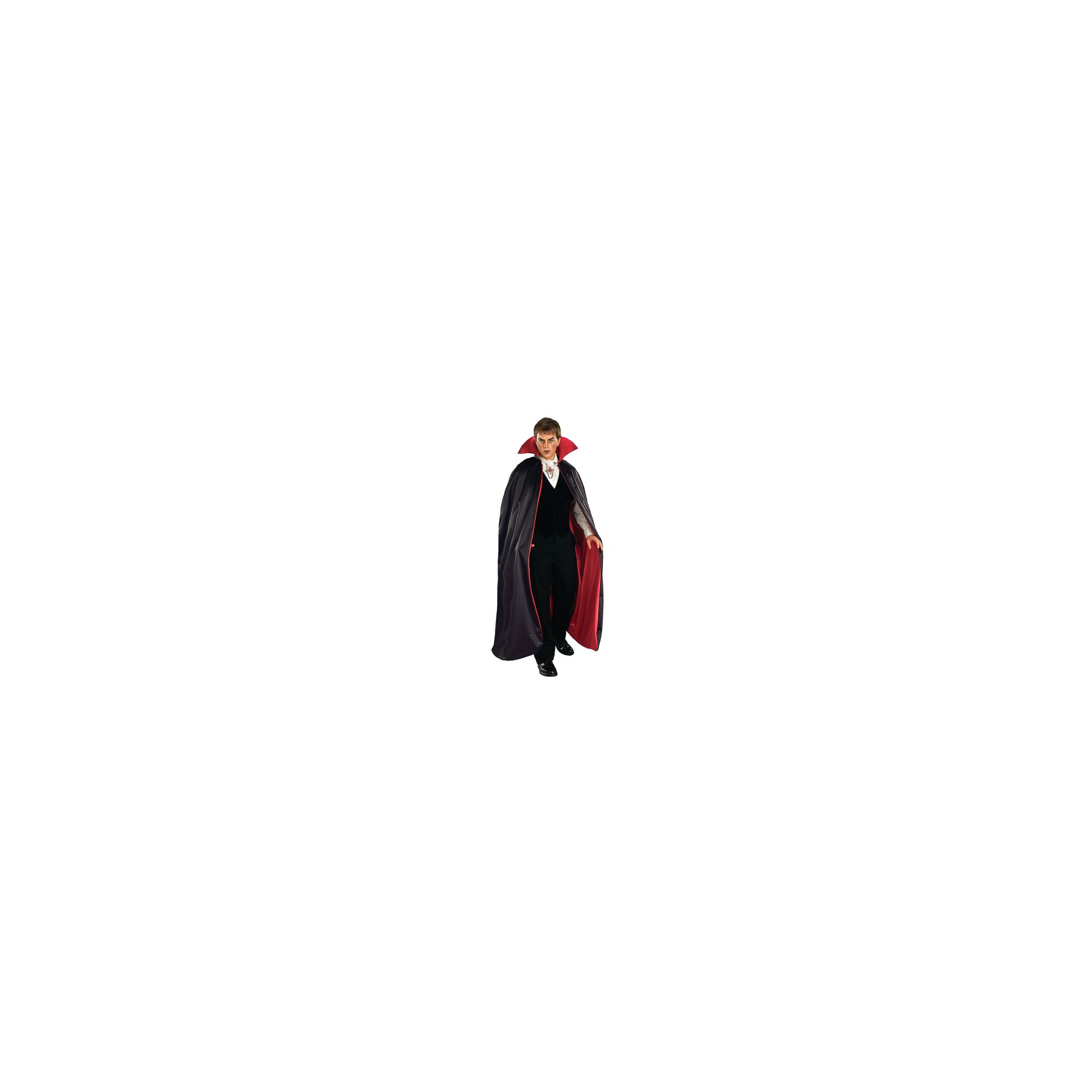 Halloween Adult Lined Vampire Cape Costume Red/Black, Adult Unisex, Black/Red