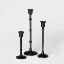 3pc Taper Candle Holder Set Black - Threshold™