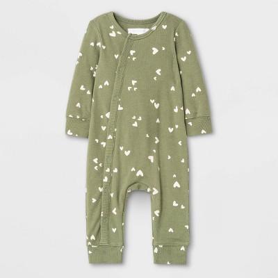 Grayson Mini Baby Girls' Hearts Rib Romper - Green 0-3M