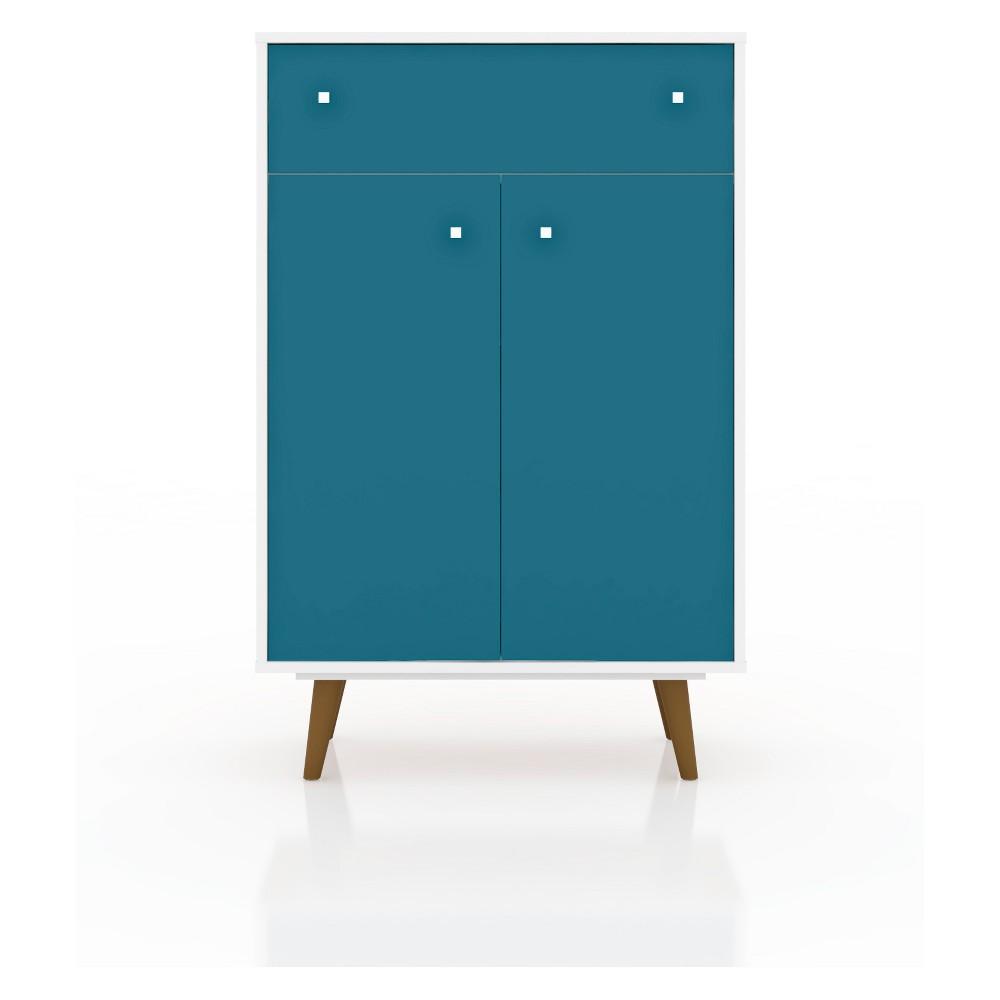 28.07 Liberty Storage Cabinet White/Aqua Blue - Manhattan Comfort