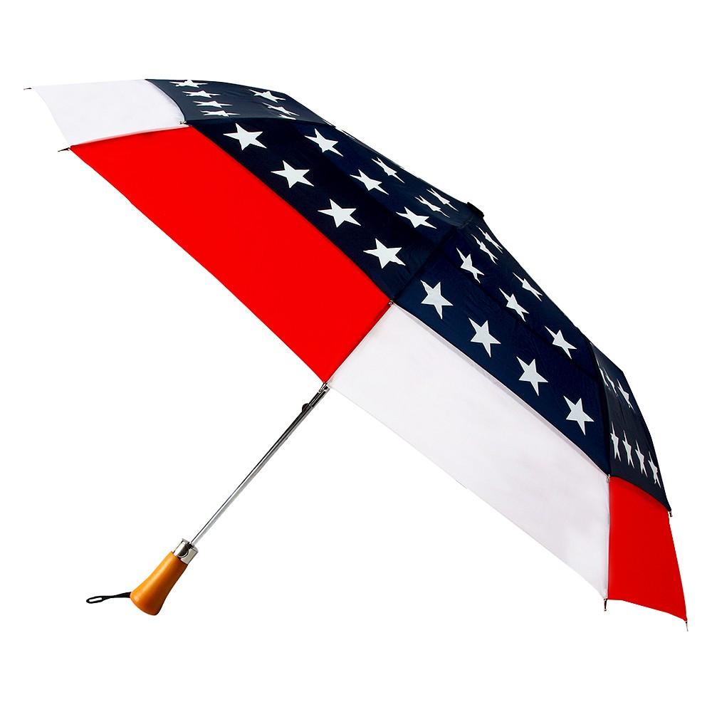 Futai American Flag Design Travel Windefyer Auto Open Canopy Star Umbrella, Red/White/Blue
