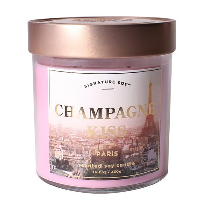 Small Glass Jar Candle Champagne Kiss 15.2oz - Signature Soy