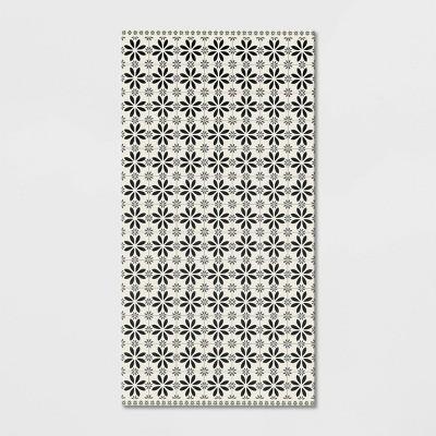 2'X4' Vintage Tile Vinyl Floor Mat Black/White - Threshold™