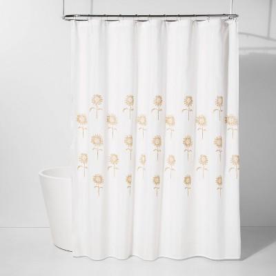 Stitched Sunflower Shower Curtain Yellow/White - Threshold™