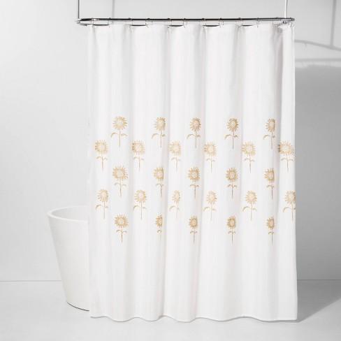 Stitched Sunflower Shower Curtain Yellow/White - Threshold™ - image 1 of 2