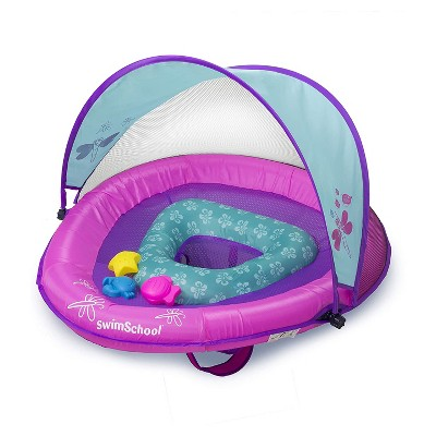 SwimSchool Baby Boat Splash and Play Float with Adjustable Safety Seat, Dual Air Pillow Chambers, and Sun Shade Canopy, Berry/Pink