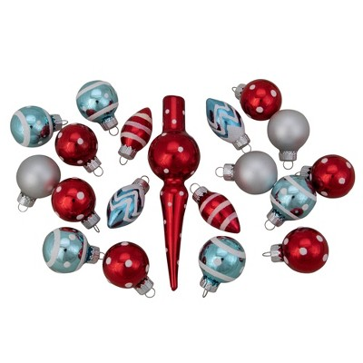 """Northlight 19ct Red and Blue Frosted Glass Christmas Ornaments and Tree Topper Set 5.25"""""""