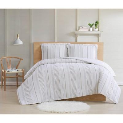 Full/Queen 3pc Warm Hearth Stripe Comforter Set Beige - Cottage Classics