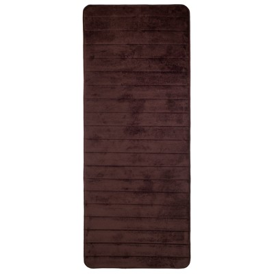Solid Memory Foam Striped Extra Long Bath Mat Chocolate - Yorkshire Home