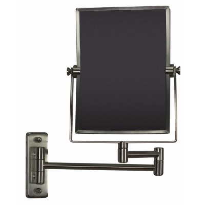 "16.36"" Rectangle Wall Mount Magnifying Mirror Brushed Nickel - American Imaginations"