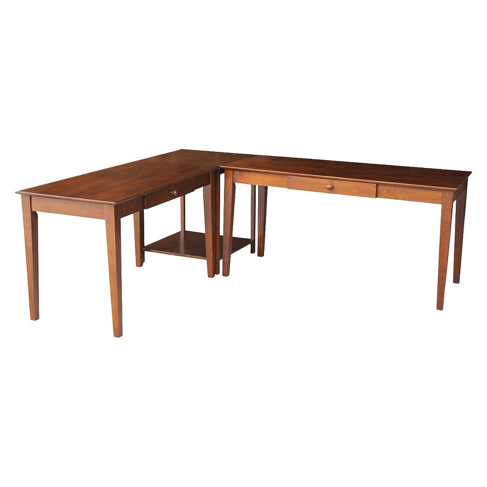 Corner Desk Espresso (Brown) - International Concepts