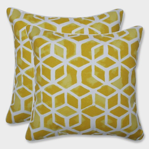 """16.5"""" 2pk Celtic Pineapple Throw Pillows Yellow - Pillow Perfect - image 1 of 1"""