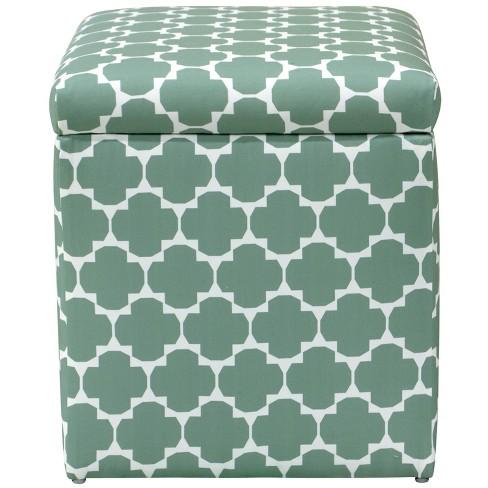 Superb Storage Ottoman In Facet Green Cloth Co Short Links Chair Design For Home Short Linksinfo