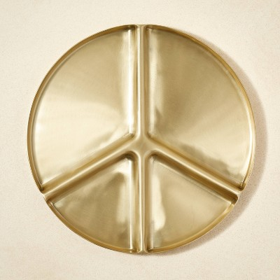 """13"""" Metal Peace Sign Divided Serving Tray - Project Bungalow"""