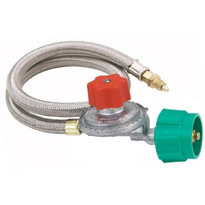 Bayou Classic  36 Inch High Pressure Stainless Braided Propane Hose And 5 PSI Adjustable Regulator M5HPR