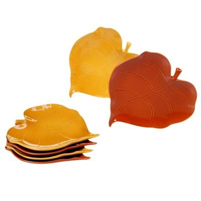 7.8  6pk Autumn Fields Ceramic Leaf Appetizer Plates - Certified International