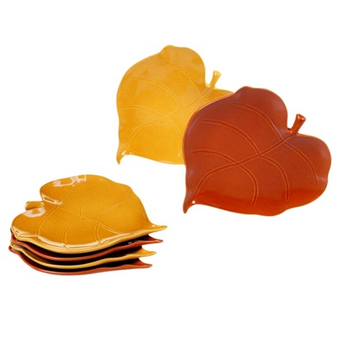 "7.8"" 6pk Autumn Fields Ceramic Leaf Appetizer Plates - Certified International - image 1 of 1"