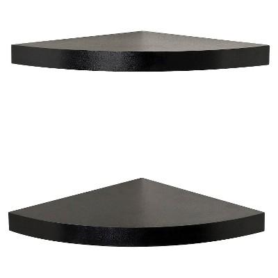 "(Set of 2)11.5"" x 1.5"" Radial Floating Corner Shelves Black - Danya B."