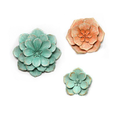 (Set of 3) Stunning Tricolor Metal Flowers - Stratton Home Décor