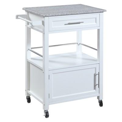 Mitchell Kitchen Cart Granite Top - White Wood - Linon
