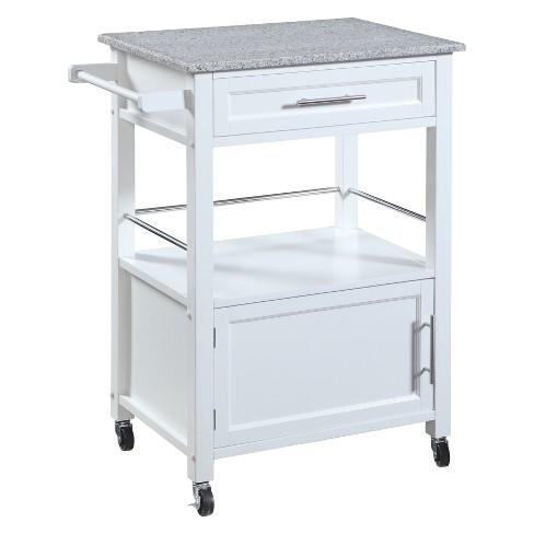mitchell kitchen cart granite top white wood linon target. Black Bedroom Furniture Sets. Home Design Ideas