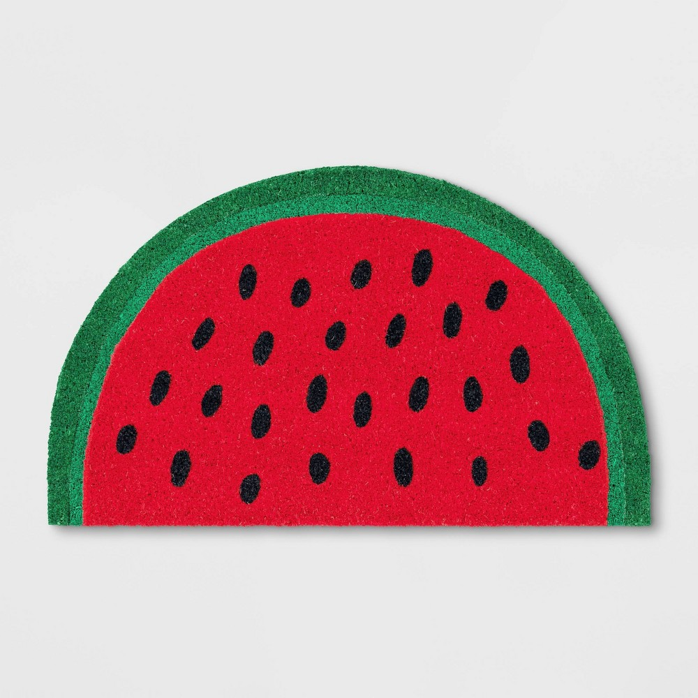 Watermelon Half Circle Coir Doormat Green
