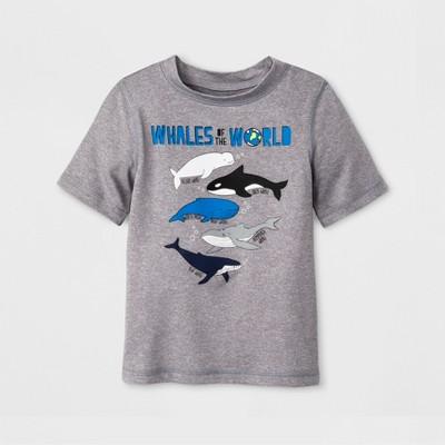 Baby Boys' Short Sleeve Whales Rash Guard - Cat & Jack™ Gray 12M