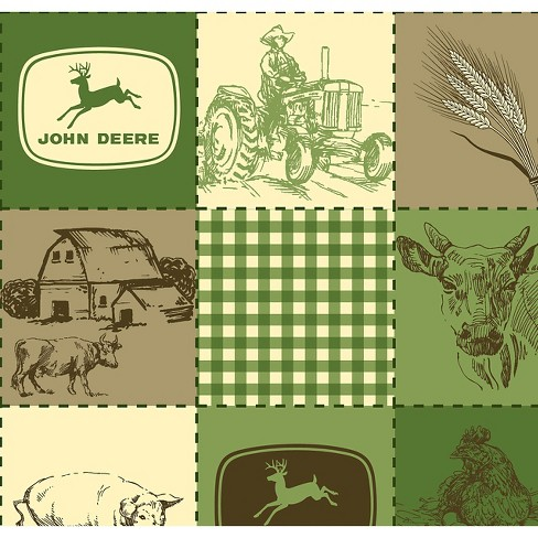 "John Deere Vintage Quilted Scenes, Green, Fleece, 59/60"" Width, Fabric by the Yard - image 1 of 1"