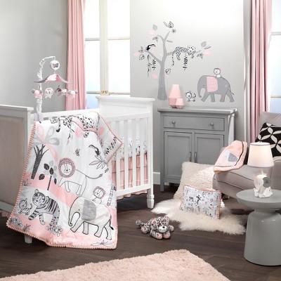 Lambs & Ivy Happy Jungle Pink/White Safari Nursery 5-Piece Crib Bedding Set