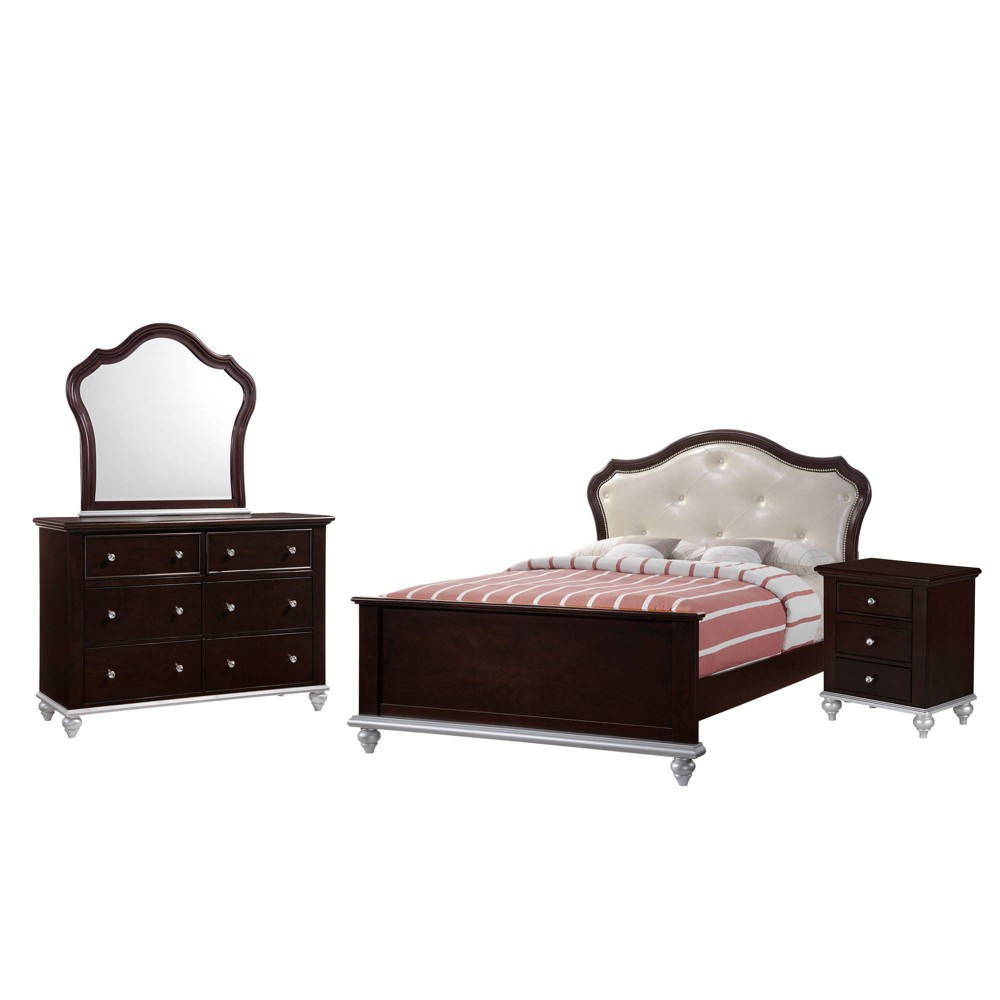 Image of 4pc Full Alli Platform Bedroom Set Walnut Brown - Picket House Furnishings