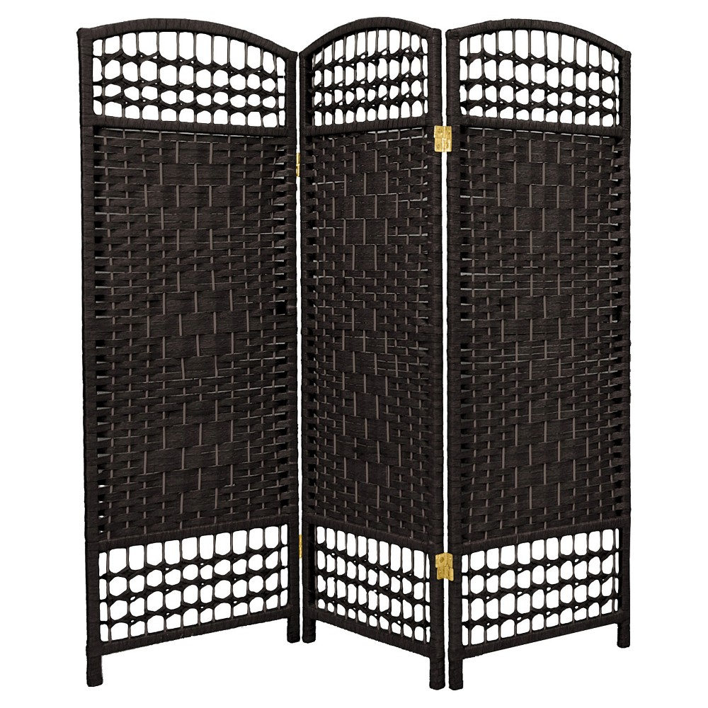 Image of 4 ft. Tall Fiber Weave Room Divider - Black (3 Panels) - Oriental Furniture