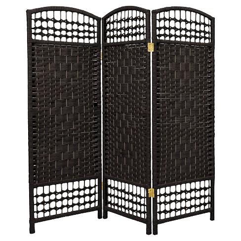 4 Ft Tall Fiber Weave Room Divider 3 Panels Oriental Furniture