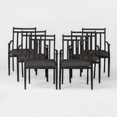 Fairmont 6pk Metal Patio Dining Chair W/ Cushion   Charcoal   Threshold™