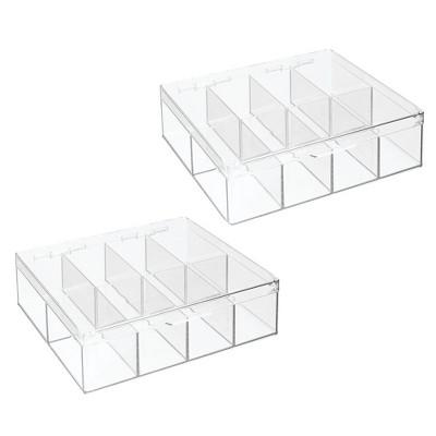 mDesign Stackable Plastic Tea Bag Organizer Kitchen Storage Box, 2 Pack