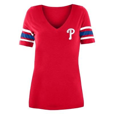 MLB Philadelphia Phillies Women's Pitch Count V-Neck T-Shirt