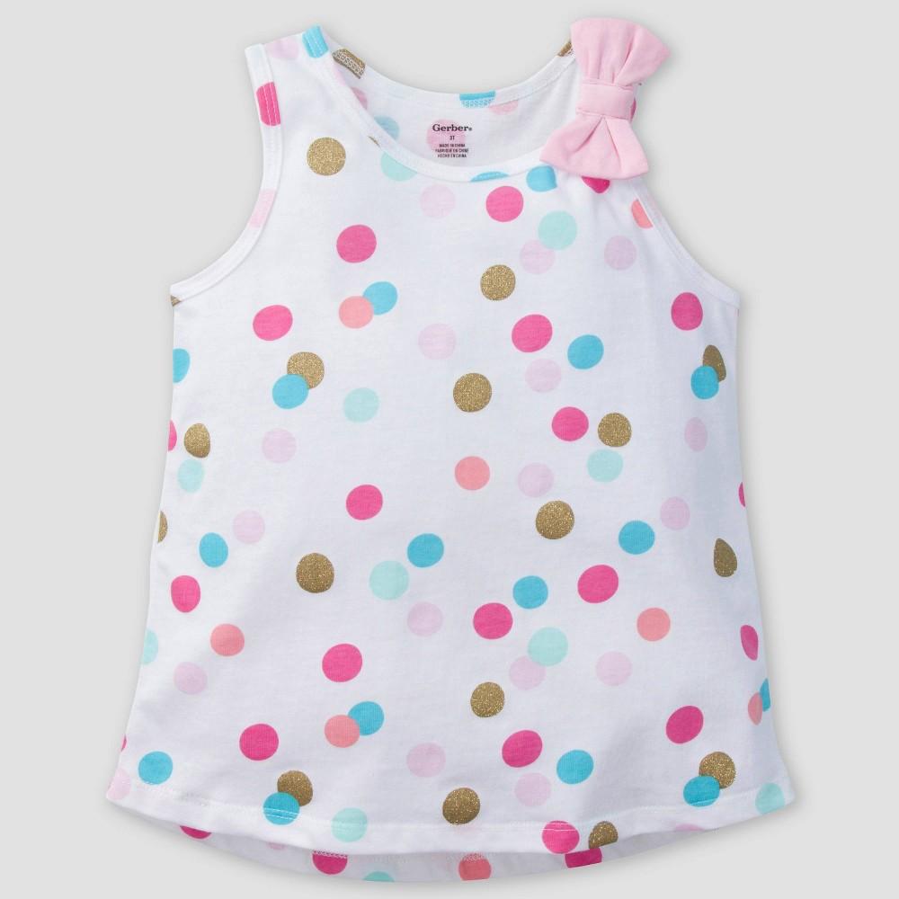 Gerber Toddler Girls' Glitter Dots Sleeveless Top - 3T, Multicolored
